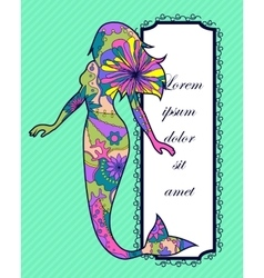 Background with mermaid vector image vector image