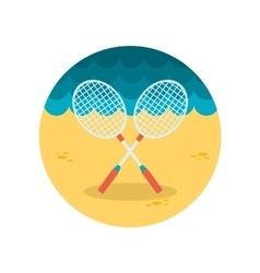 Badminton racket flat icon vector