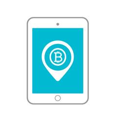 bitcoin tablet circle icon vector image