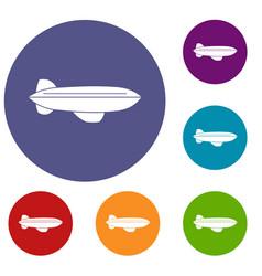 blimp aircraft flying icons set vector image