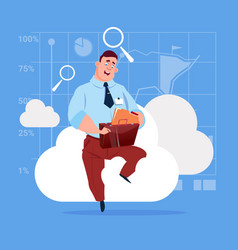 Business man sitting on cloud search data in vector