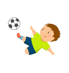 cartoon soccer player kicks the ball vector image