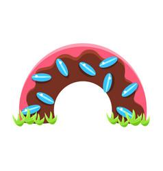 Chocolate dougnut half bridge fairy tale candy vector