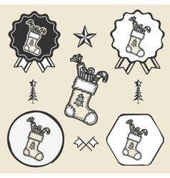 Christmas sock presents gifts vintage symbol vector
