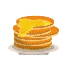 Colored delicious pancakes maple syrup vector