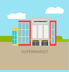 colored supermarket building vector image vector image