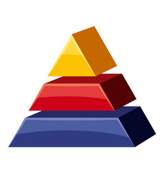 Colorful triangle divided icon cartoon style vector