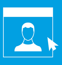 Cursor point man on monitor icon white vector