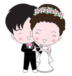 Cute wedding cartoon vector