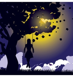 Girl on swing silhouette at night vector image