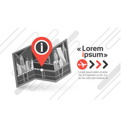 Gps pin map over city view cityscape background vector