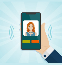 hand holding smartphone with caller on a screen vector image vector image
