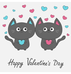 Happy Valentines Day Gray contour cat couple vector image