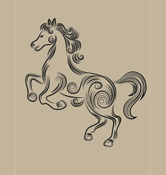 Horse floral outline vector image vector image