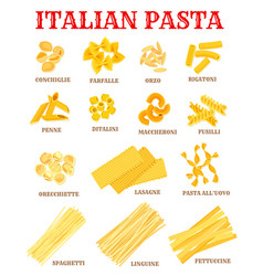Italian cuisine pasta list poster for food design vector
