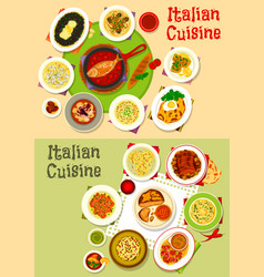 Italian cuisine tasty lunch dishes icon set design vector