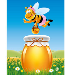 Jar of honey in a meadow with bees and flowers vector