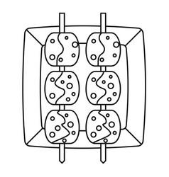 Meat shashlik icon outline style vector