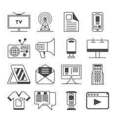 Media and advertisement icon set vector