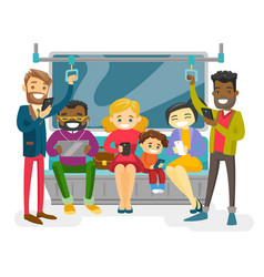 multicultural people traveling by public transport vector image vector image