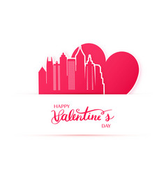 Red heart and silhouette of atlanta city paper vector