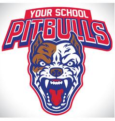 School mascot of pitbull dog vector