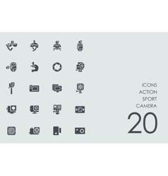 Set of action sport camera icons vector