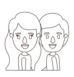 Sketch contour caricature side view half body vector