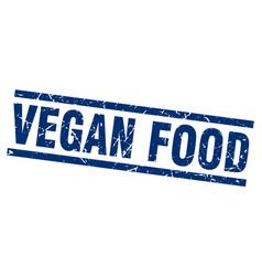 square grunge blue vegan food stamp vector image