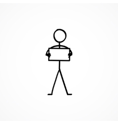 Stick figure with a sign plate vector
