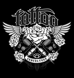 tattoo shirt design monochrome version vector image