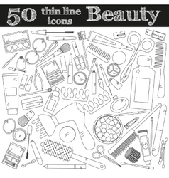 Tools for makeup set of 50 cosmetic icons in thin vector