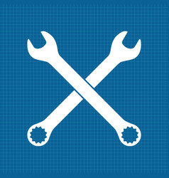 wrench white outline icon vector image