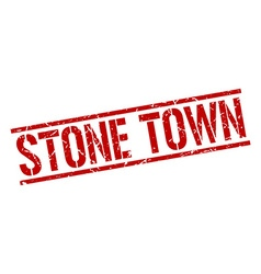 Stone town red square stamp vector