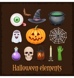 Happy halloween elements on dark background vector