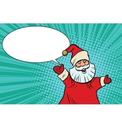 Joyful good pop art retro santa claus vector
