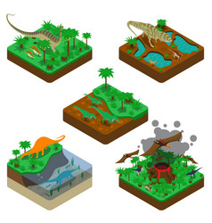 Dinosaurs isometric compositions vector