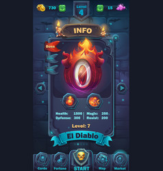 Monster battle gui info playing field vector