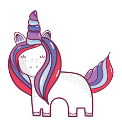 Beautiful unicorn with horn and mane long vector