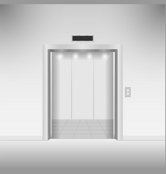 Open chrome metal elevator doors vector