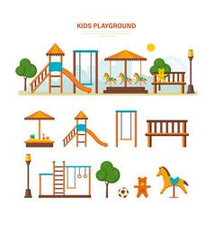 children entertainment playground benches vector image