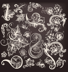 set of swirl flourishes vector image
