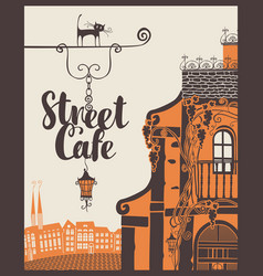 Banner for street cafe in old city vector