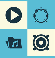 Multimedia icons set collection of start timbrel vector