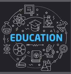Black line flat circle education vector