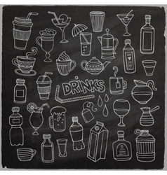 Set of different hand drawn beverages on vector