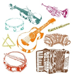 Musical instruments icons color set vector