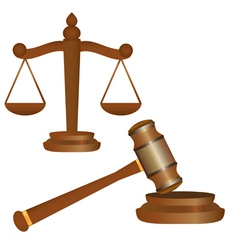 Gavel and scales vector