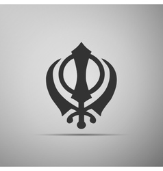 Khanda sikh icon on grey background vector