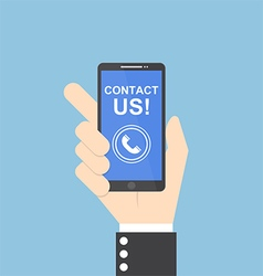Businessman hand holding smartphone contact us vector